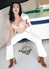 Ladyboy Paeng - White Pants Backwards Bar Stool Loaded Rear