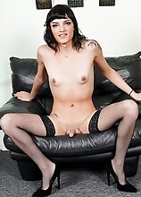 Watch gorgeous Adelaide Rose as she slowly strips showing off her hot body and playing with her cock for you!
