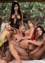 5 Big Cock Latina TS Stars: Anny Kelly, Barbara Perez, Marcelle Herrera, Victoria Neves, AND Yasmin Dornelles vs 1 Guy Raw Orgy