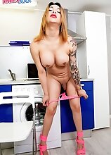 Ashley Helena enjoys showing off her curvy body and her amazing thick ass! Watch her getting naughty in the kitchen and stroking her cock!