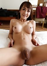 21 year old busty Thai ladyboy sucks and fucks a big white cock