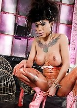 Messy tgirl Adriana covers herself with glaze