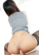 Ladyboy Manaw - Grey Dress, Pearl Necklace Bareback